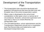 development of the transportation plan