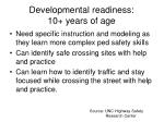 developmental readiness 10 years of age