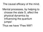 the causal efficacy of the mind