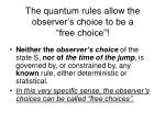 the quantum rules allow the observer s choice to be a free choice