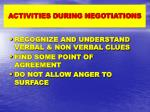 activities during negotiations