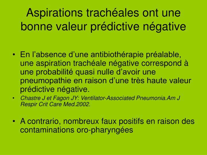 Aspirations trachéales ont une bonne valeur prédictive négative