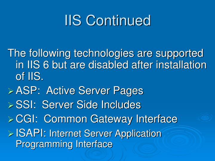 IIS Continued