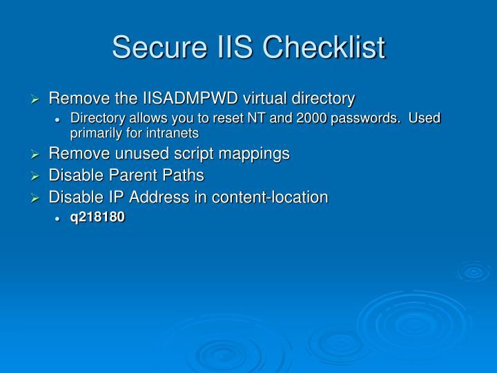 Secure IIS Checklist