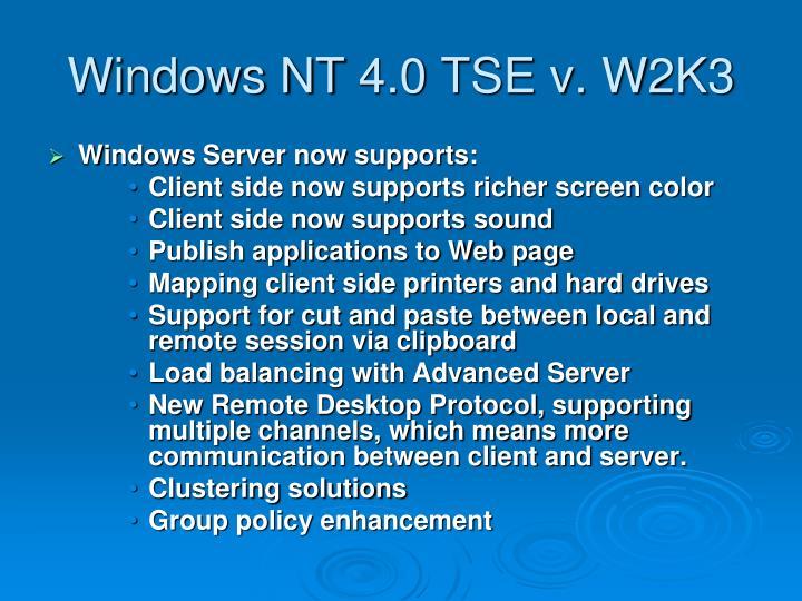 Windows NT 4.0 TSE v. W2K3