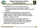 rapid improvement event accomplishments