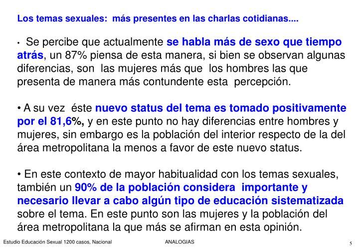 Los temas sexuales:  más presentes en las charlas cotidianas....