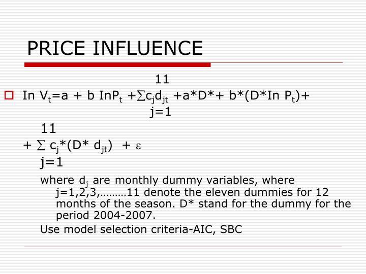 PRICE INFLUENCE