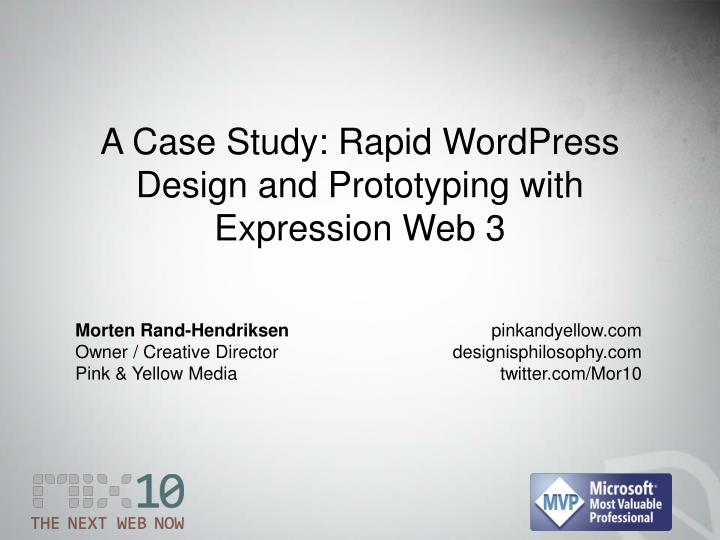 a case study rapid wordpress design and prototyping with expression web 3 n.