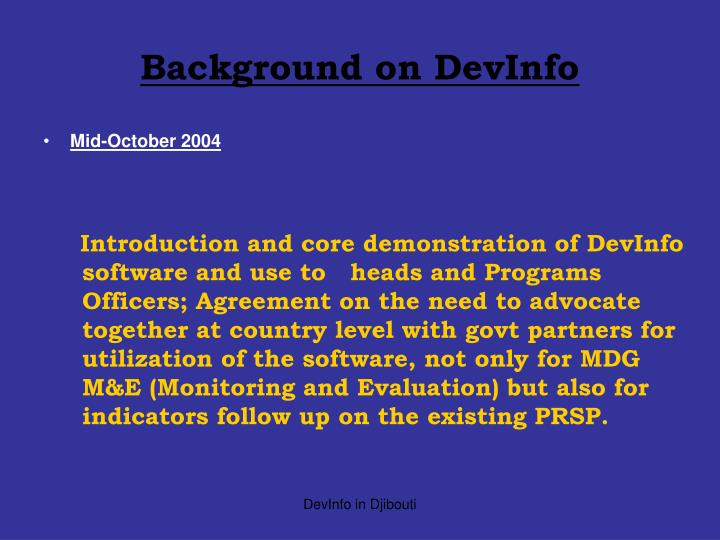 Background on devinfo
