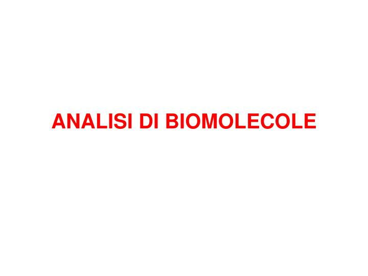 analisi di biomolecole n.