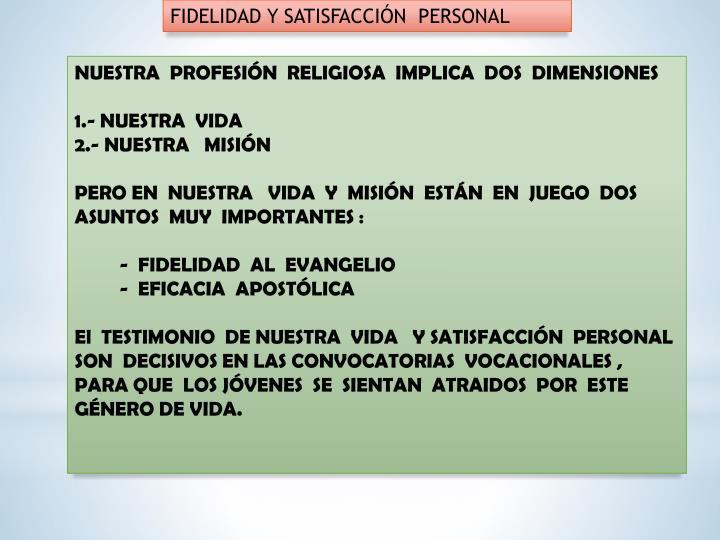 FIDELIDAD Y SATISFACCIÓN  PERSONAL