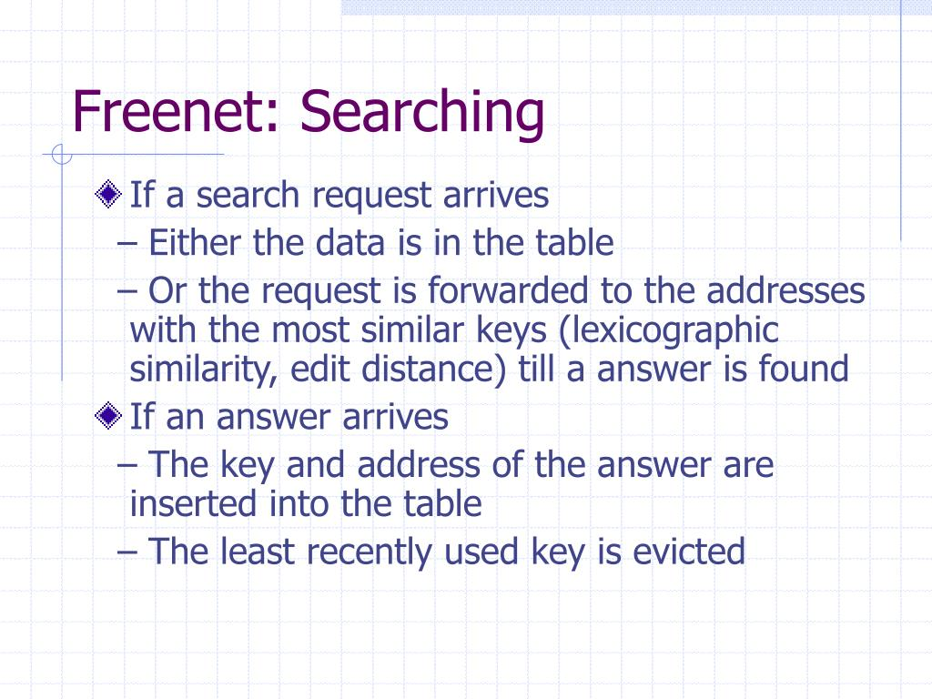 Freenet: Searching