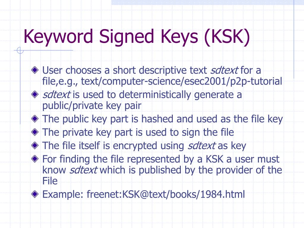 Keyword Signed Keys (KSK)