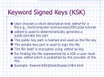 keyword signed keys ksk