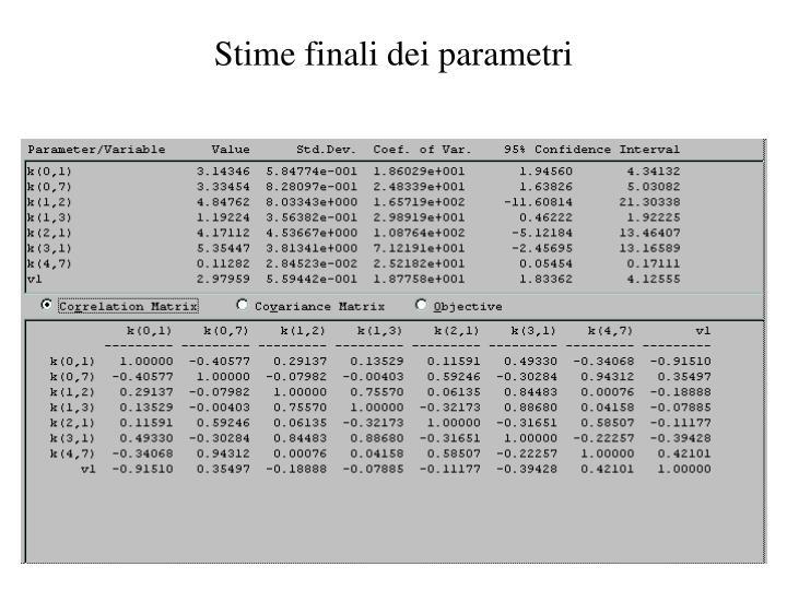 Stime finali dei parametri