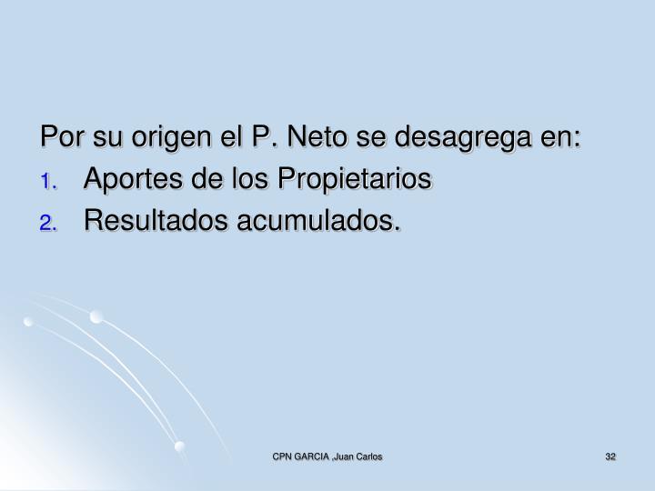 Por su origen el P. Neto se desagrega en: