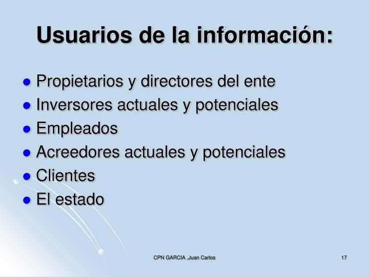 Usuarios de la información: