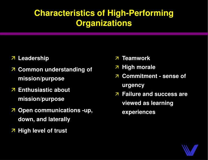 Characteristics of High-Performing Organizations