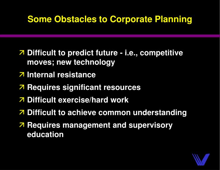 Some Obstacles to Corporate Planning