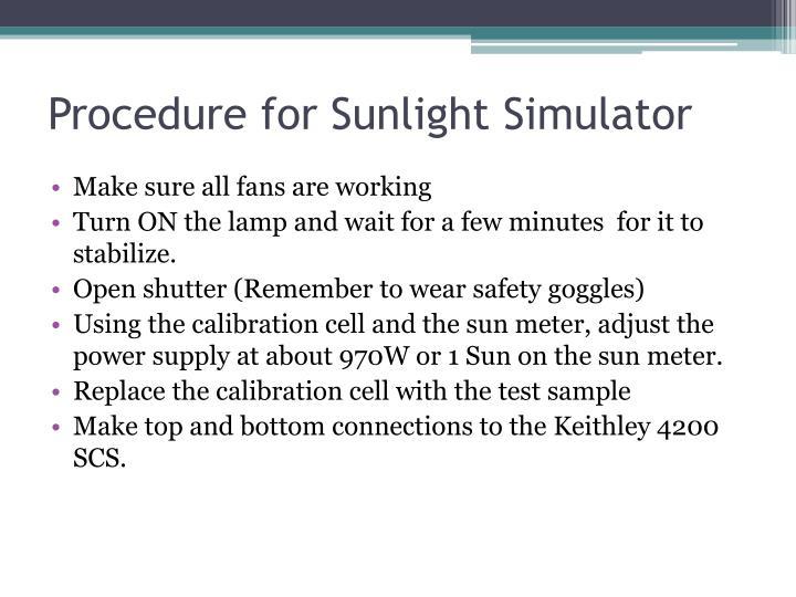 Procedure for Sunlight Simulator