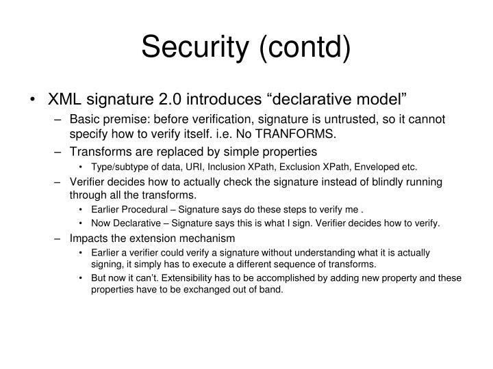 Security (contd)