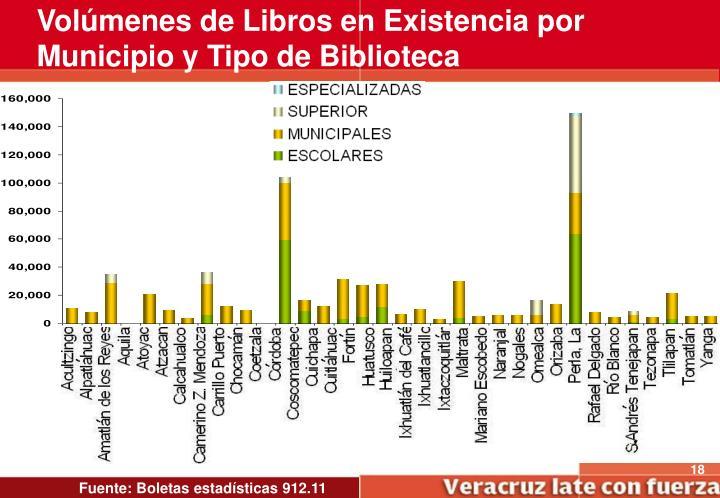 Volúmenes de Libros en Existencia por Municipio y Tipo de Biblioteca