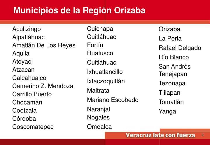 Municipios de la Región