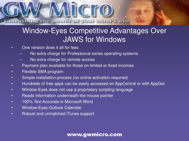 Window-Eyes Competitive Advantages Over JAWS for Windows