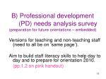 b professional development pd needs analysis survey preparation for future orientations embedded
