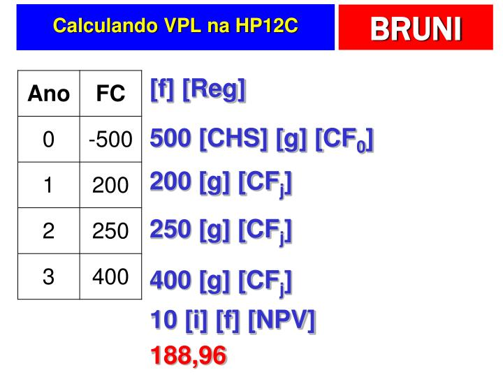 Calculando VPL na HP12C