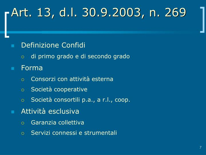 Art. 13, d.l. 30.9.2003, n. 269