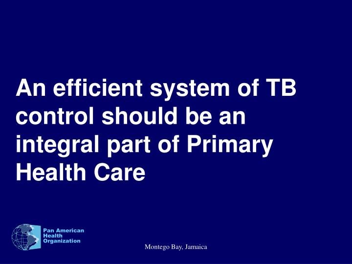 An efficient system of TB control should be an integral part of Primary Health Care