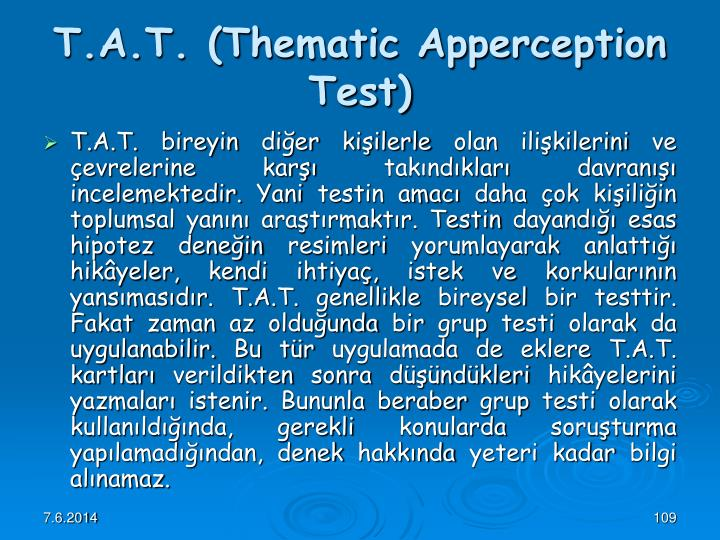 thematic apperception test notes