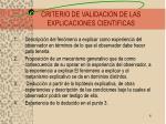 criterio de validacion de las explicaciones cientificas