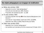 des objets p dagogiques aux langages de mod lisation