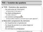 tice l volution des questions