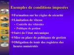 exemples de conditions impos es