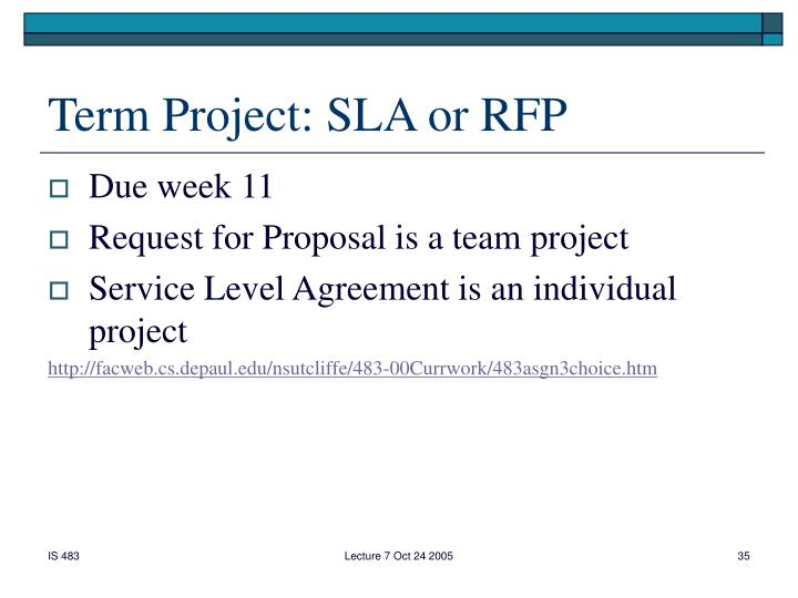 Term Project: SLA or RFP