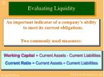 evaluating liquidity
