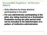 accountability legislation an overview dpas ii