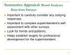 summative appraisal board analyzes data from surveys