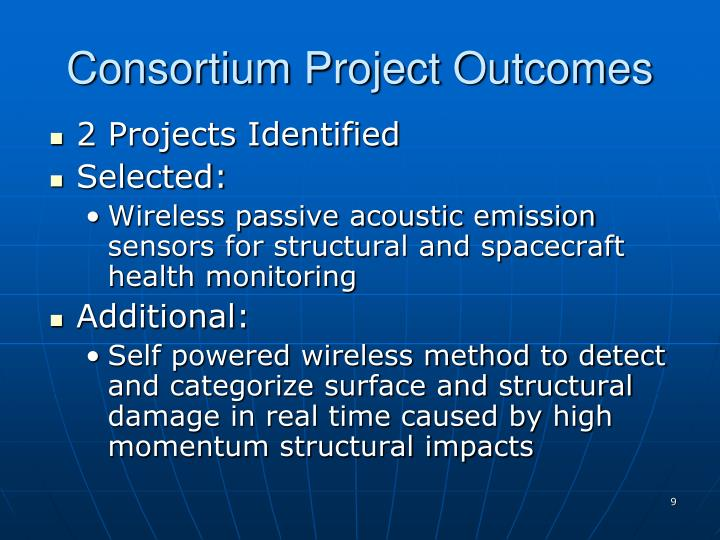 Consortium Project Outcomes