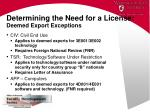 determining the need for a license deemed export exceptions