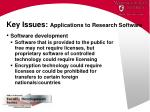 key issues applications to research software