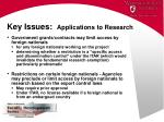 key issues applications to research