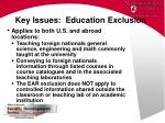 key issues education exclusion