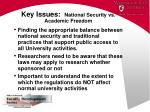 key issues national security vs academic freedom