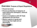 overview purpose of export regulations