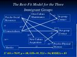 the best fit model for the three immigrant groups